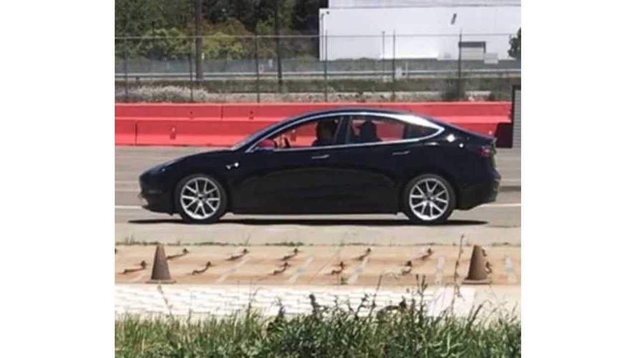 Tesla Model 3 Spotted Testing At Fremont Track