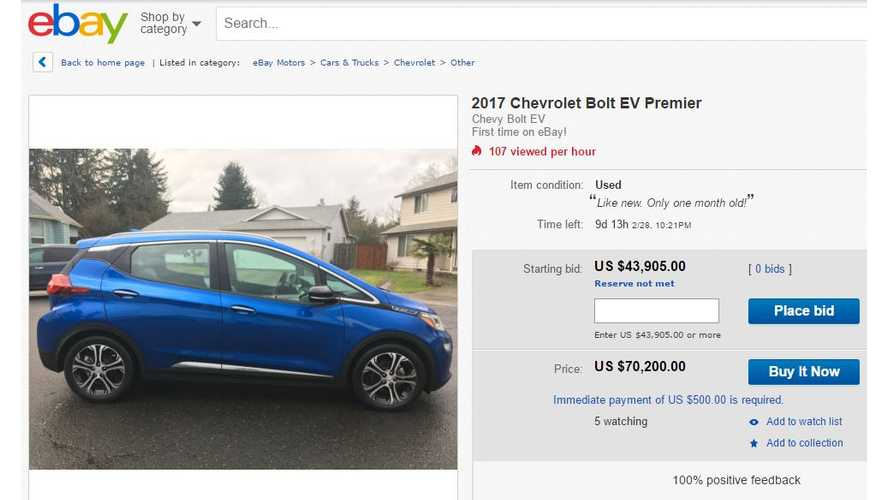 First eBay Chevrolet Bolt Has Buy It Now Price Of $70,200
