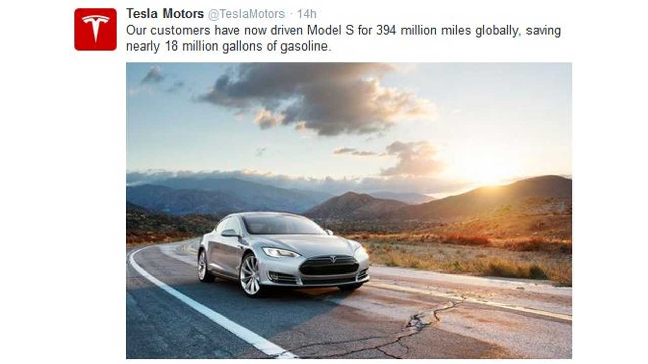 Tesla Model S Owners Have Driven 394 Million Miles; Saved 18 Million Gallons Of Gas