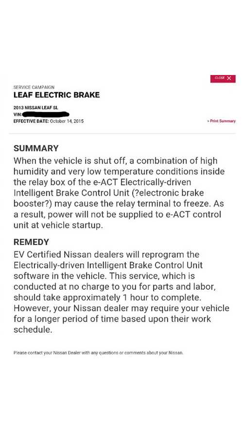 Nissan To Remedy LEAF Brake Issue Caused By Very Low Temperatures + High Humidity