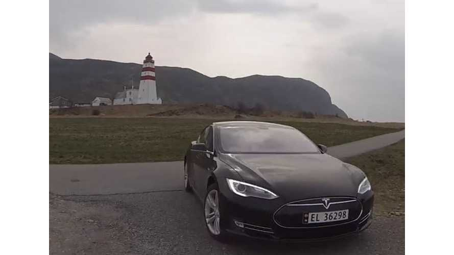 Drone Footage Of Tesla Model S In Norway