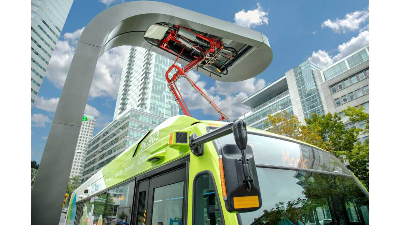 Electric bus (Nova Bus) at the OppCharge overhead fast charging station