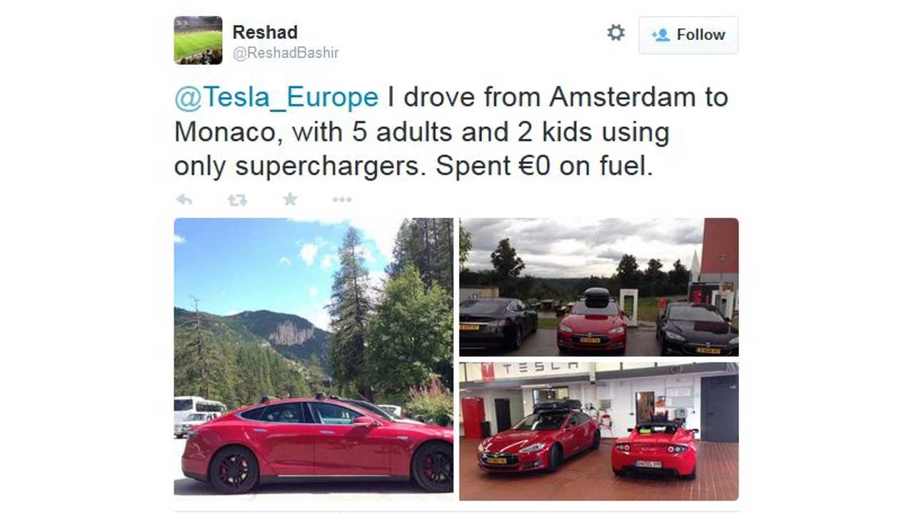 Tesla Model S Hauls 5 Adults & 2 Children While Supercharging Its Way From Amsterdam To Monaco
