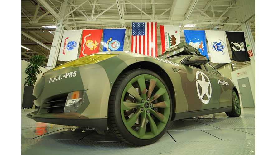 Tesla Unveils Camo'd Model S For Veterans Day