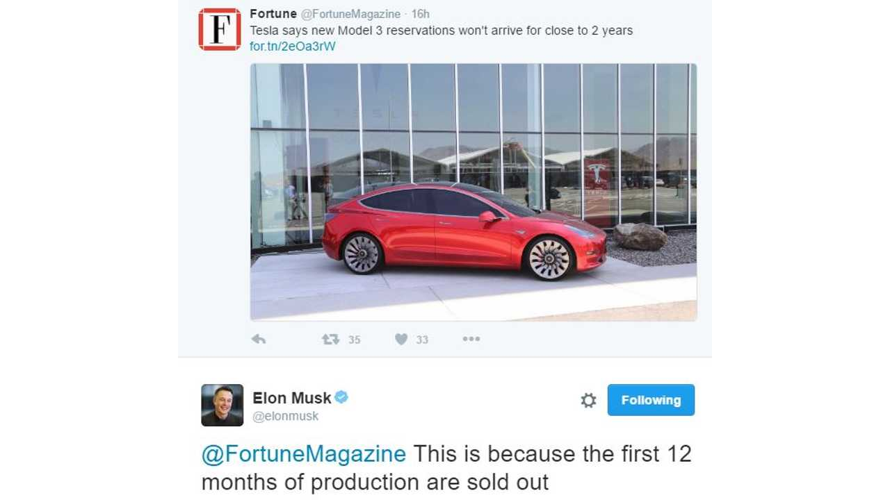 Elon Musk: First 12 Months Of Tesla Model 3 Production Is Sold Out