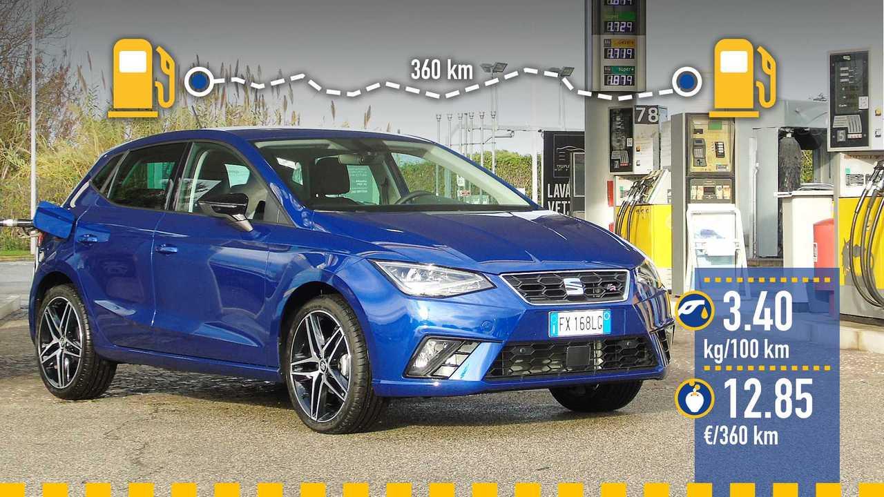 Seat Ibiza 1.0 TGI metano, la prova consumi