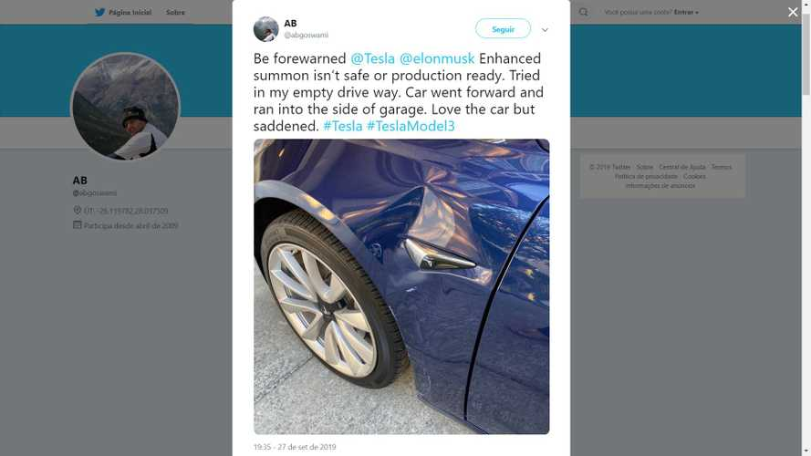 First Report Of Accident With Tesla Smart Summon Emerges