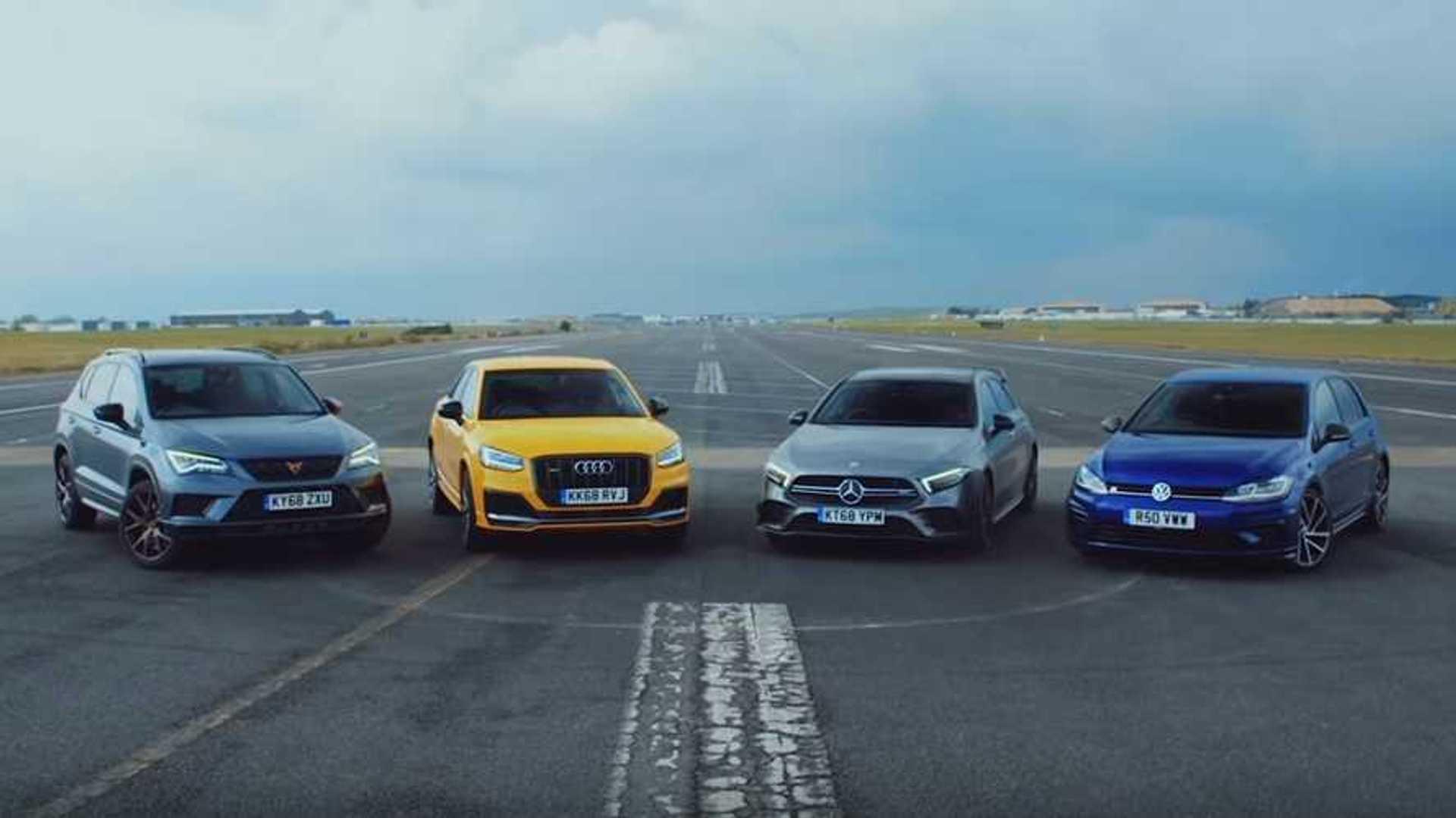 Top Gear Pits Golf R Against, AMG A35, SQ2, Cupra Ateca In Drag Race