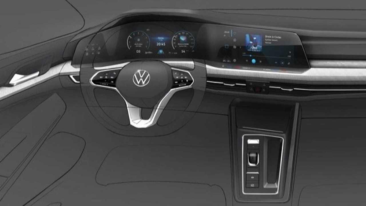 Volkswagen Golf 8 - il rendering degli interni