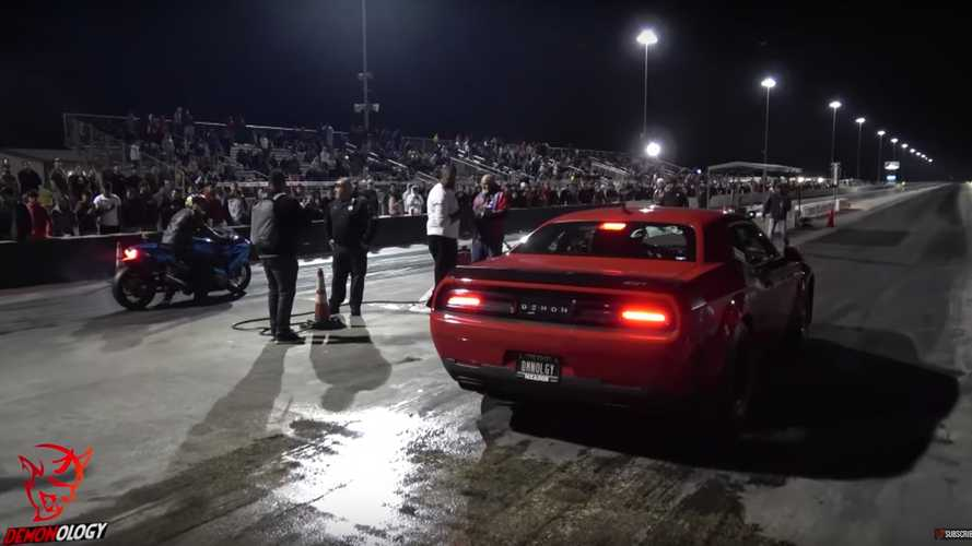 Dodge Demon Meets Kawasaki ZX-14R At Drag Strip