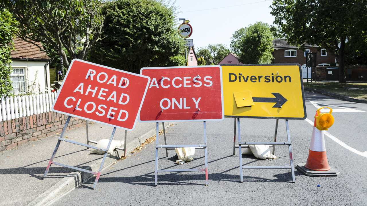Road Ahead Closed traffic sign