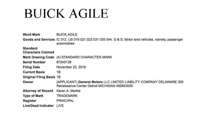 Buick Agile trademark