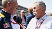 Chase Carey, Chairman of Formula One Group talks with Dr Helmut Marko, Red Bull Racing Team Consultant