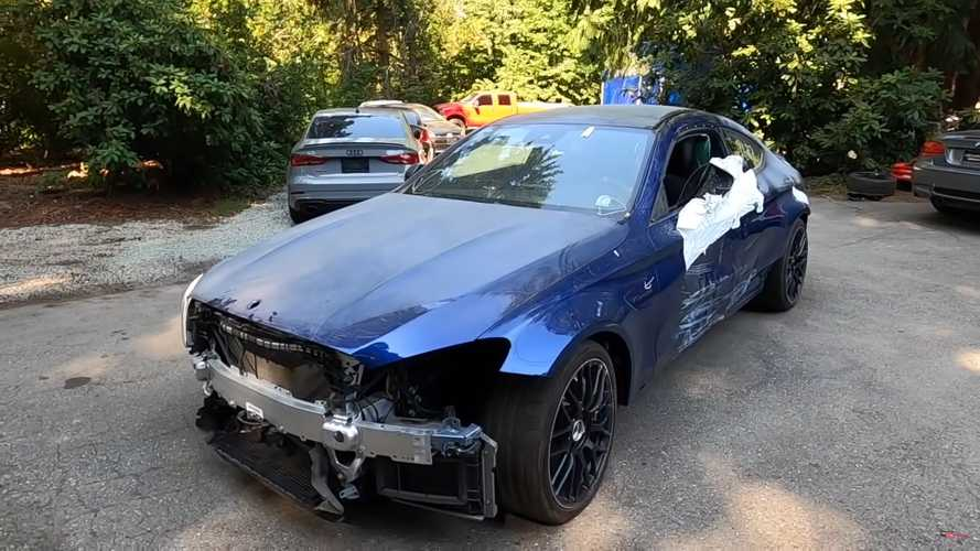 Wrecked Mercedes-AMG C63 From Copart Has Trunk Full Of Parts