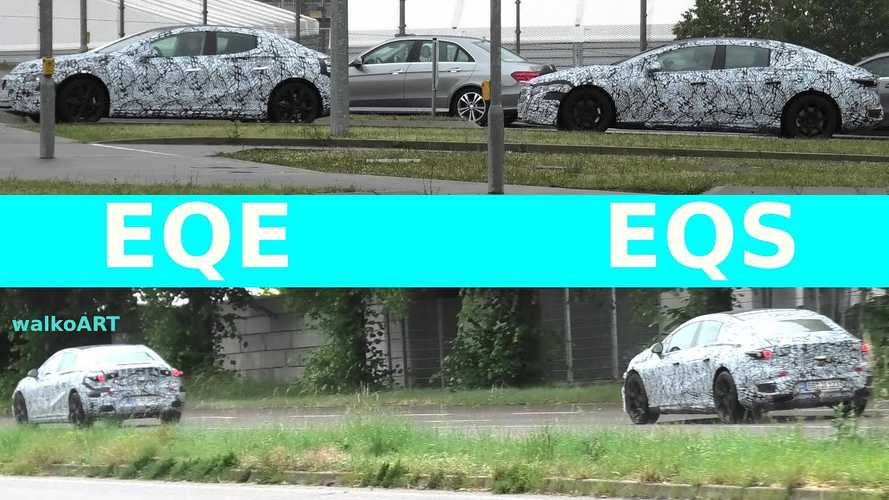 See Mercedes-Benz EQE and EQS size comparison in spy shots