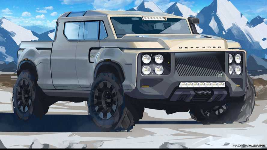 Land Rover Defender rendered as fullsize truck