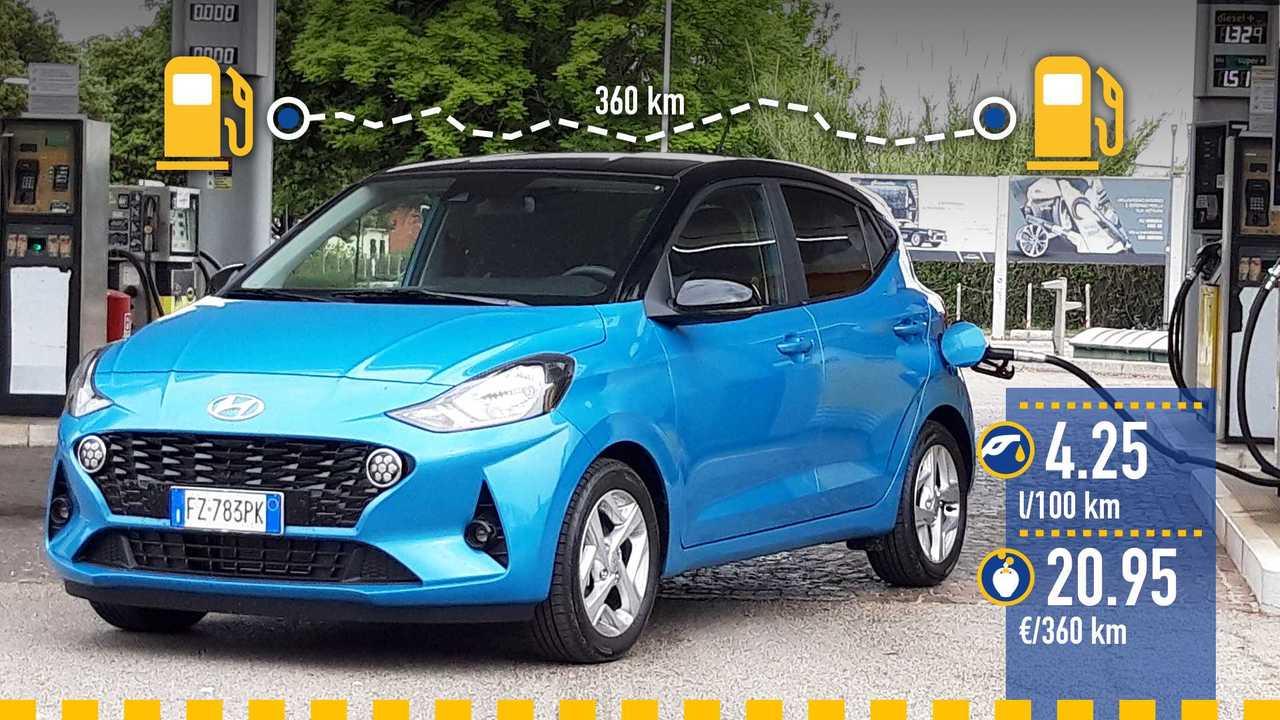 Hyundai i10, la prova consumi