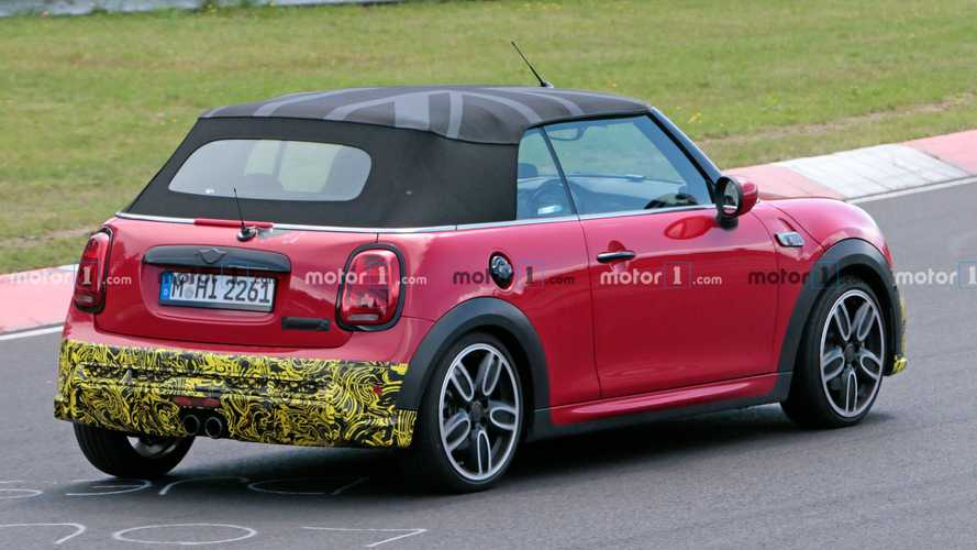 Mini Cooper S Convertible spied losing some of its camouflage