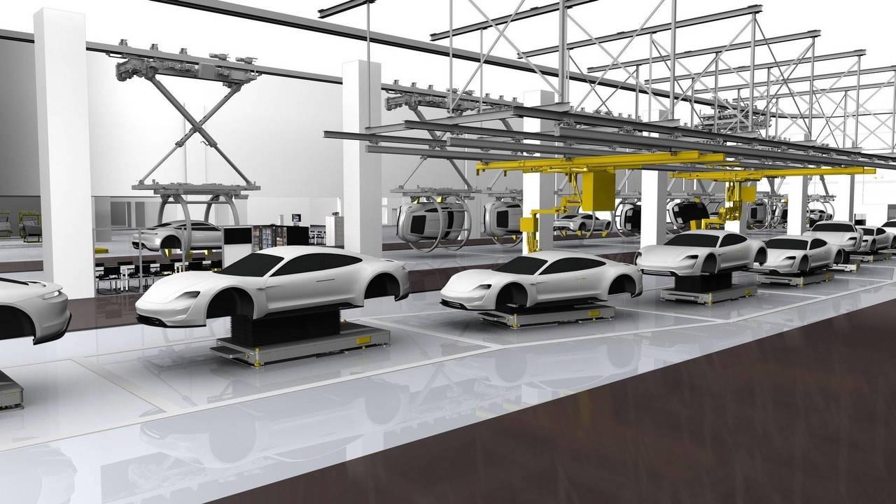 Porsche Mission E Rendering On Production Line