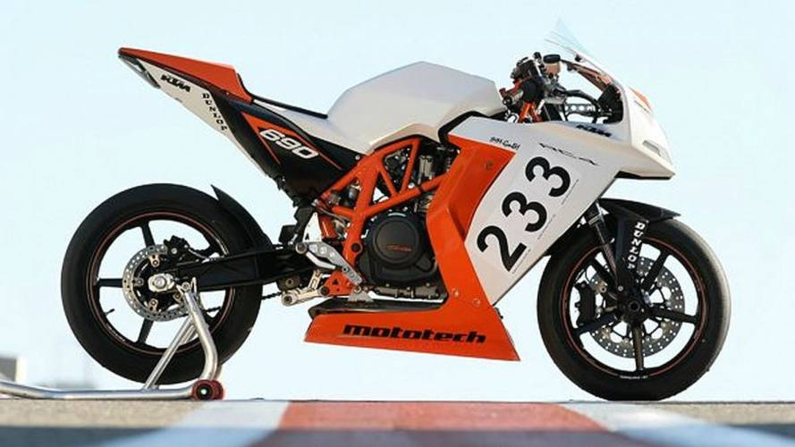 The street-legal, single-cylinder KTM RC4 sportsbike