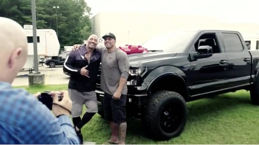 Watch The Rock Surprise His Stunt Double By Handing Over An F-150