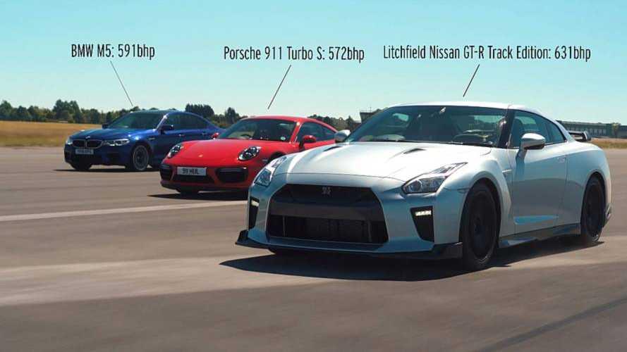 Porsche 911 Turbo S, BMW M5 ve Nissan GT-R drag yarışında