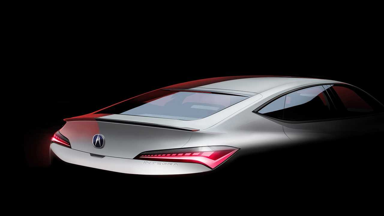 The backside of the new Acura Integra is seen in a teaser photo.