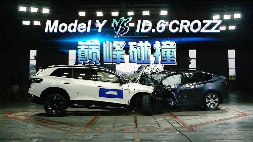 Watch Tesla Model Y Vs Volkswagen ID.6 CROZZ Crash Test