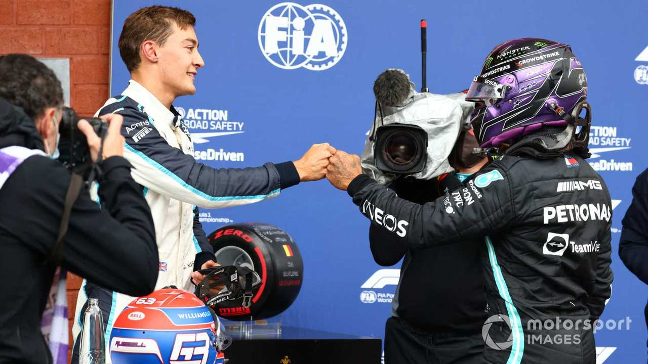George Russell and Lewis Hamilton at Belgian GP 2021