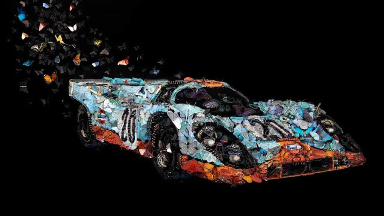 Porsche 917 obra de arte con mariposas