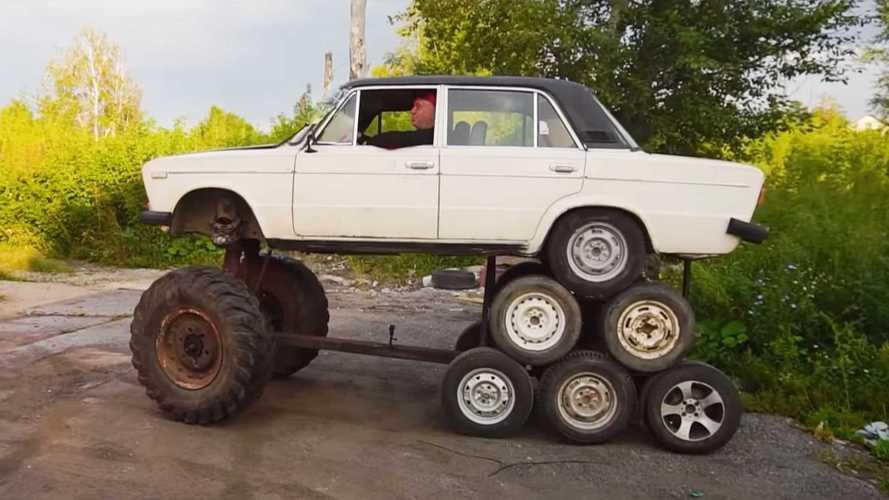 14 roues pour cette Lada, merci les Russes !