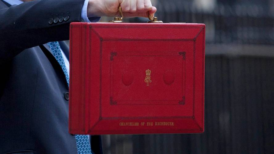 The UK chancellor's red box, where he keeps his speech for the Budget