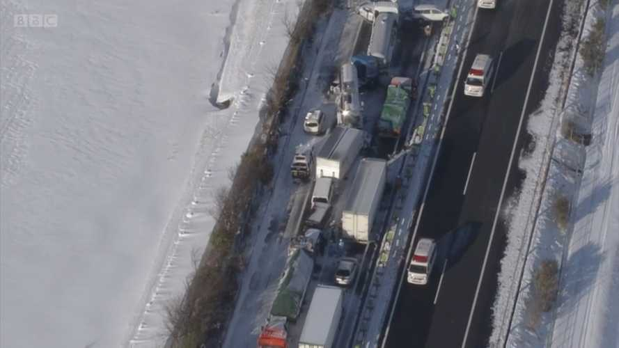 Snowstorm In Japan Causes White-Out Conditions, Massive 130-Car Crash
