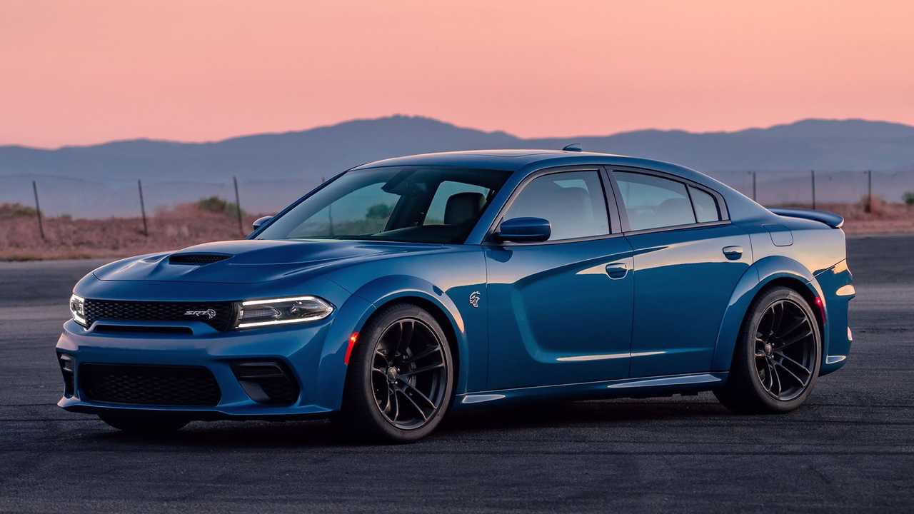 Charger SRT Hellcat in blue and angled.