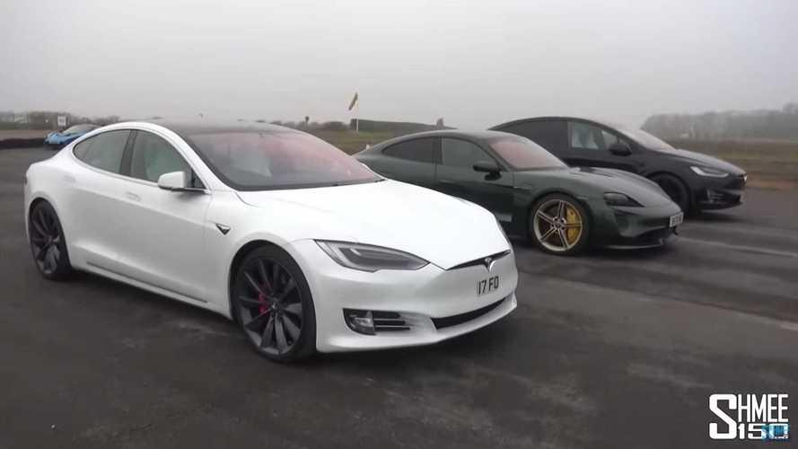 Tesla Model S Performance Cheetah Vs Porsche Taycan Turbo S: Drag Race