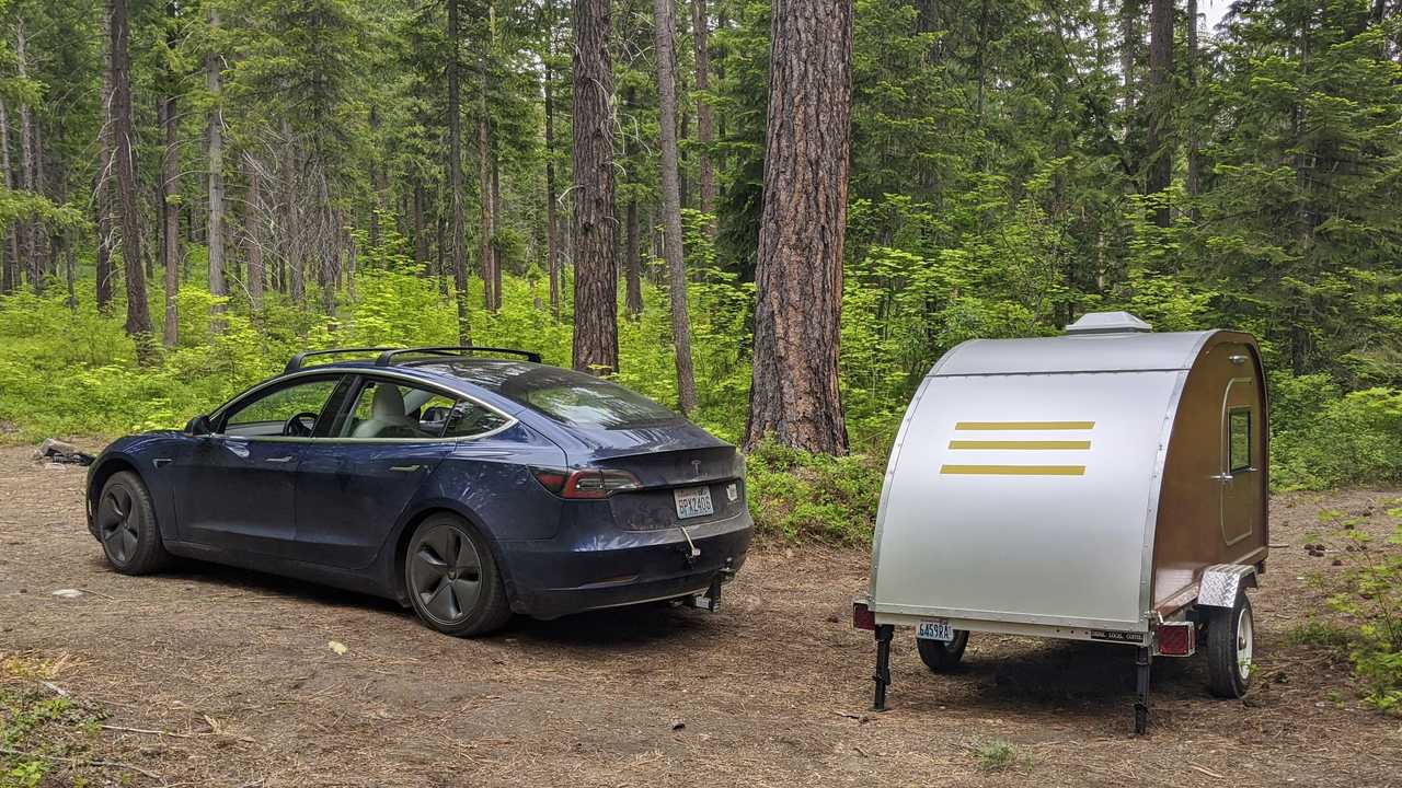tesla model 3 camping teardrop camper lead