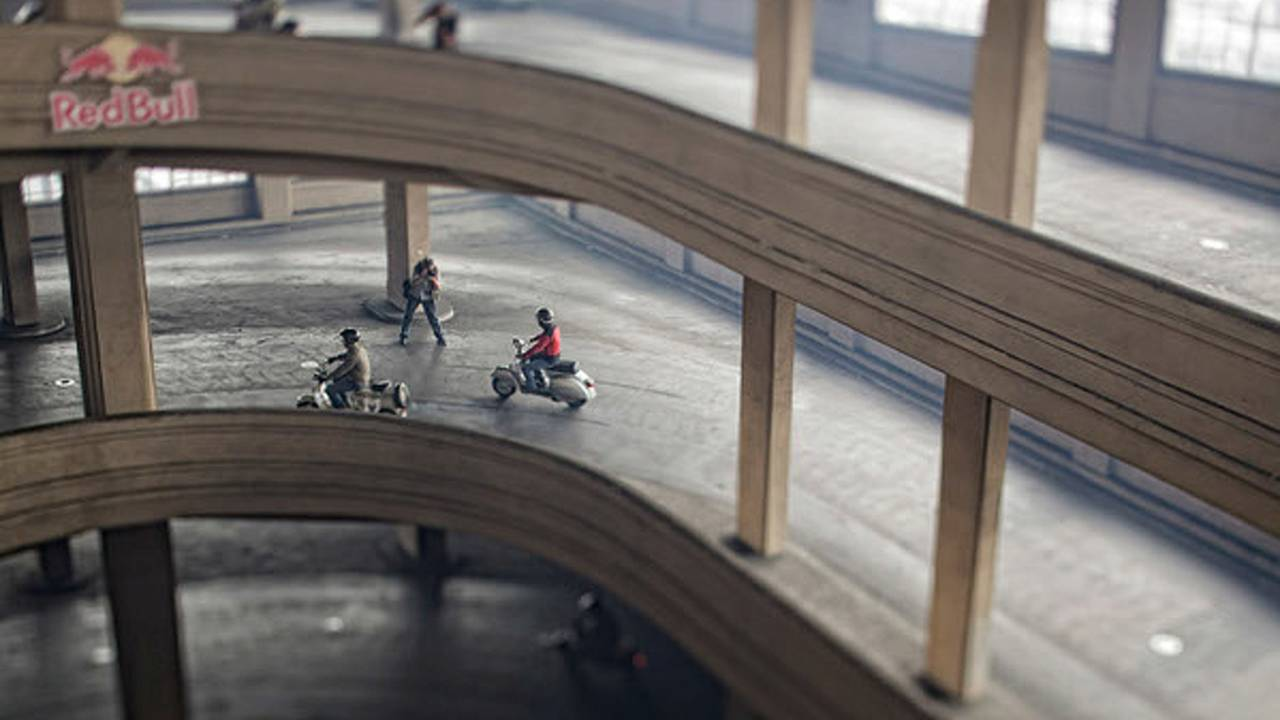 Racing scooters on Fiat's roof