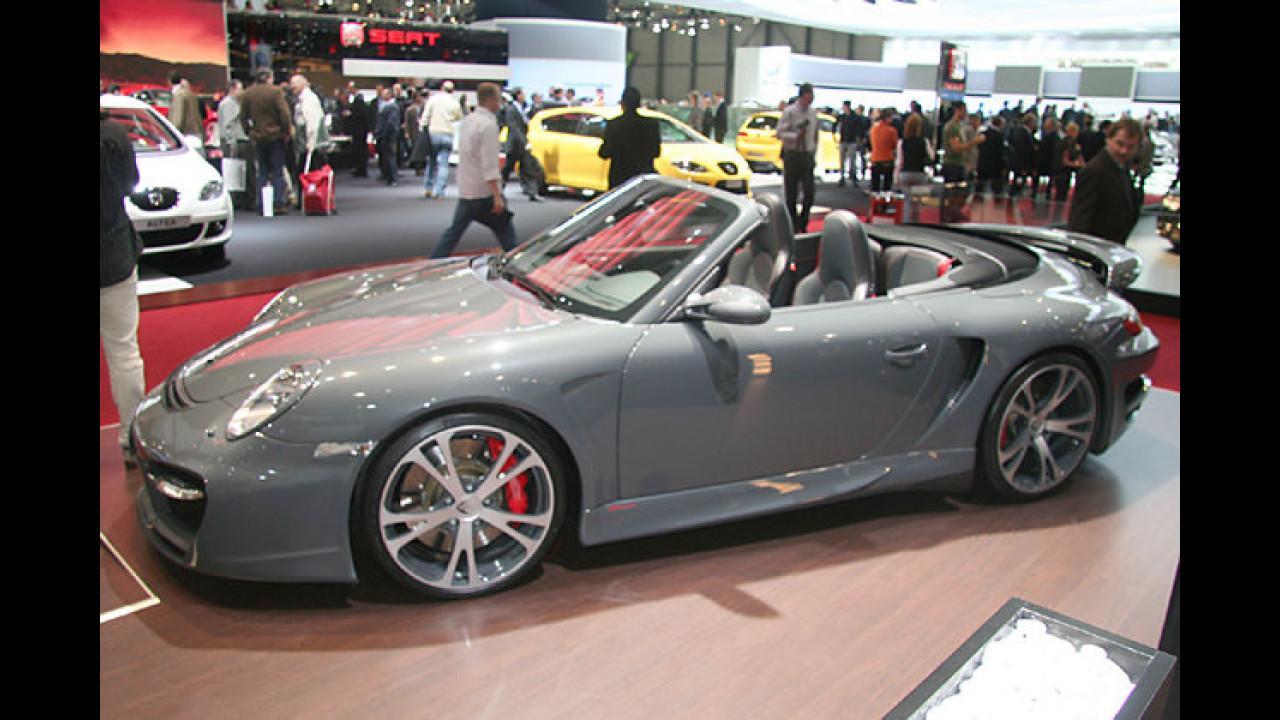 Offenfahren mit 345 Sachen: Das GTstreet Cabriolet von TechArt basiert auf dem 911 Turbo Cabrio und entwickelt deftige 630 PS. Der Preis liegt bei 250.000 Euro