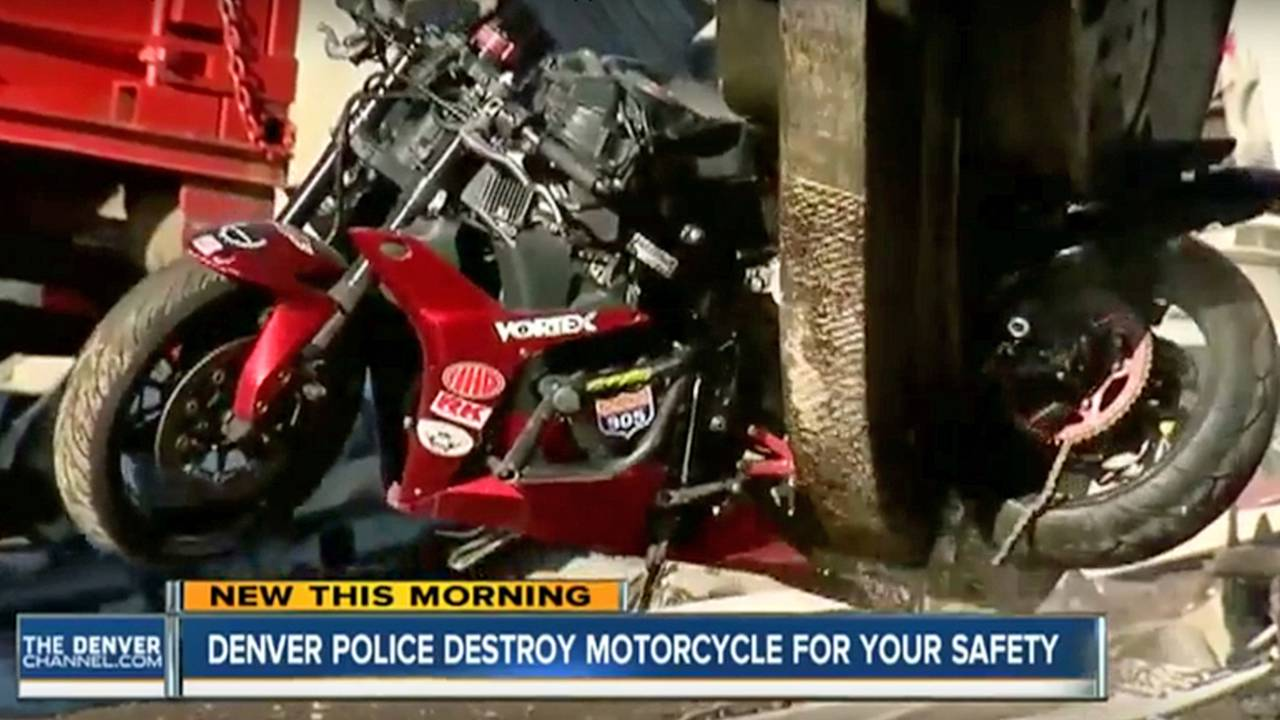 Denver Police Crush Seized Motorcycle