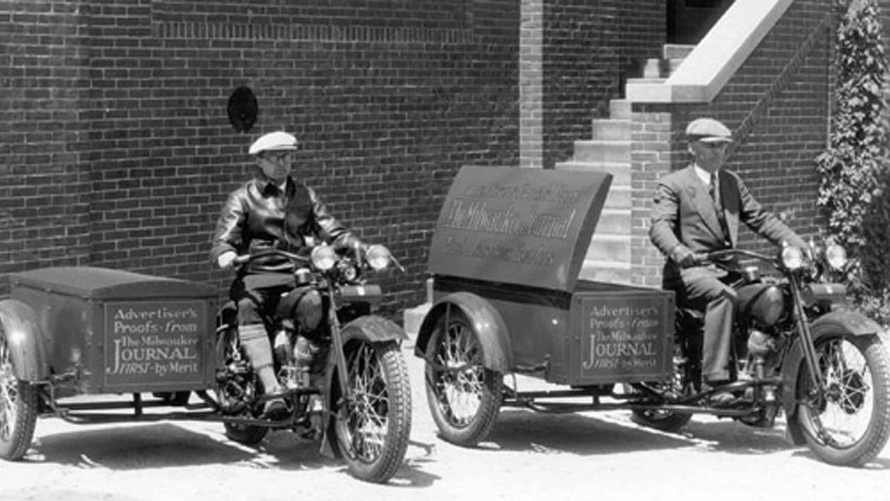 1929 Harley-Davidson J-series motorcycles with attached package trucks. Photo courtesy of the HD-Archives.