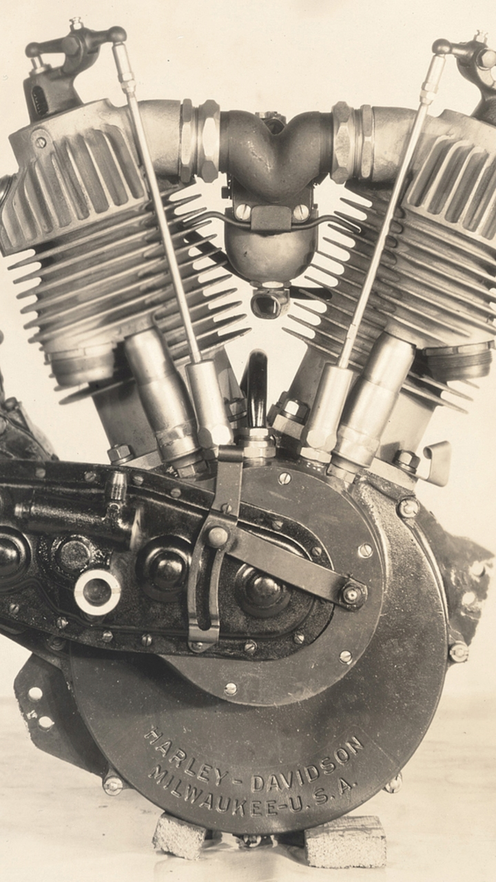 1911 Harley-Davidson V-twin motor with improved valve train. Photo Courtesy of the H-D Archives.