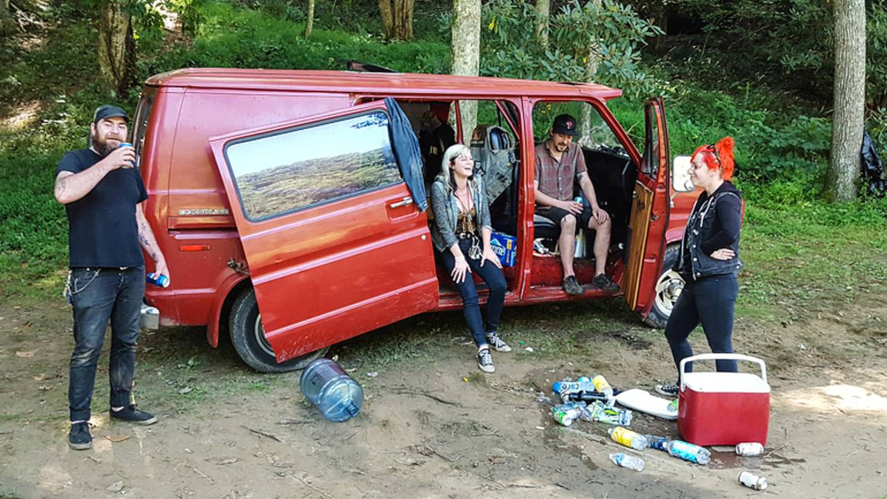 <em>This van rolled in from PA with six people and a dog. I hope it made it back!</em>