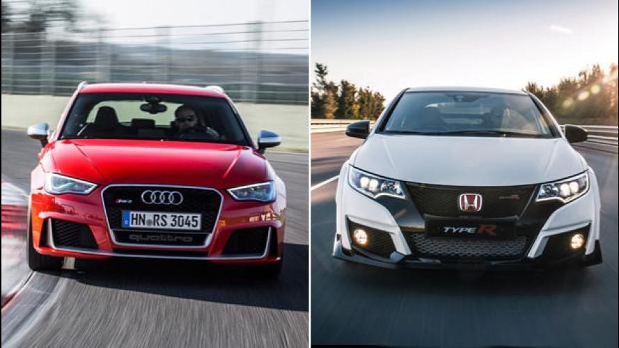"""Audi RS3 Sportback e Honda Civic-Type R, le compatte """"supersoniche"""""""