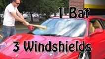 Ferrari windshield smashed