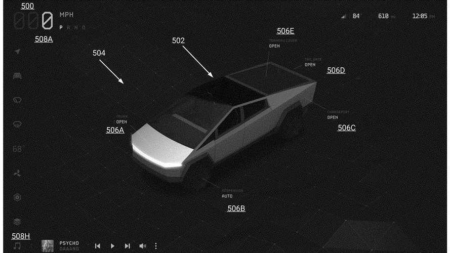 Tesla Cybertruck User Interface Patent Images