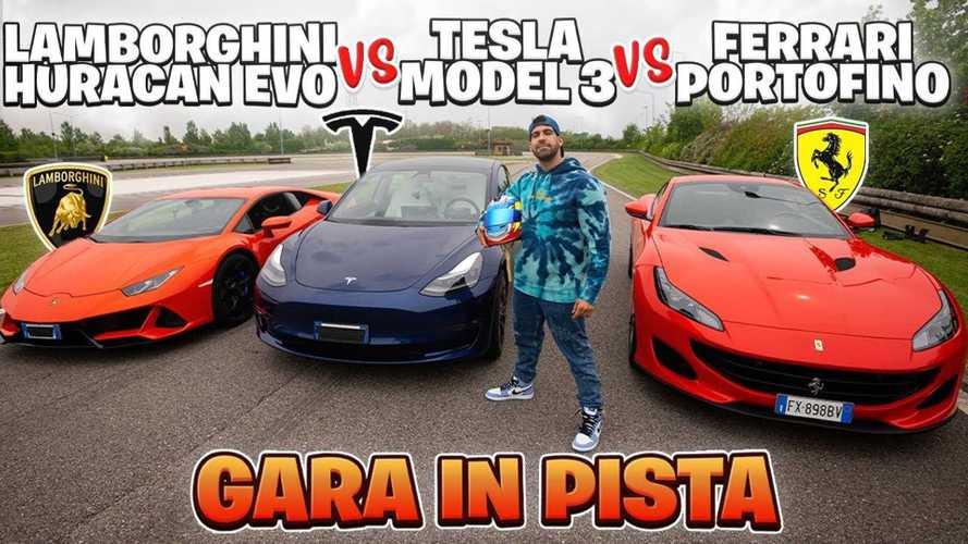 Watch A Tesla Model 3 Race A Ferrari And Lamborghini In Italy
