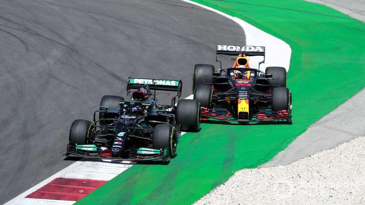 Lewis Hamilton battles with Max Verstappen at Portuguese GP 2021