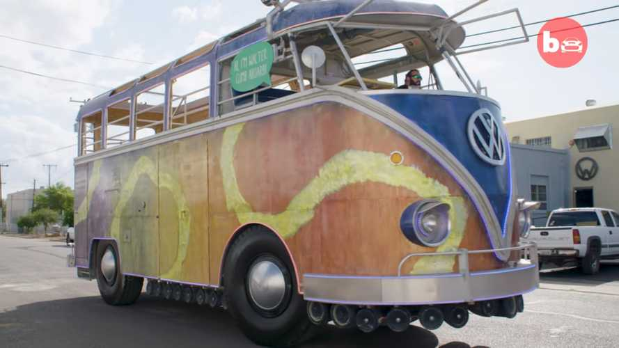 This super-sized VW party bus replica is actually an old fire engine