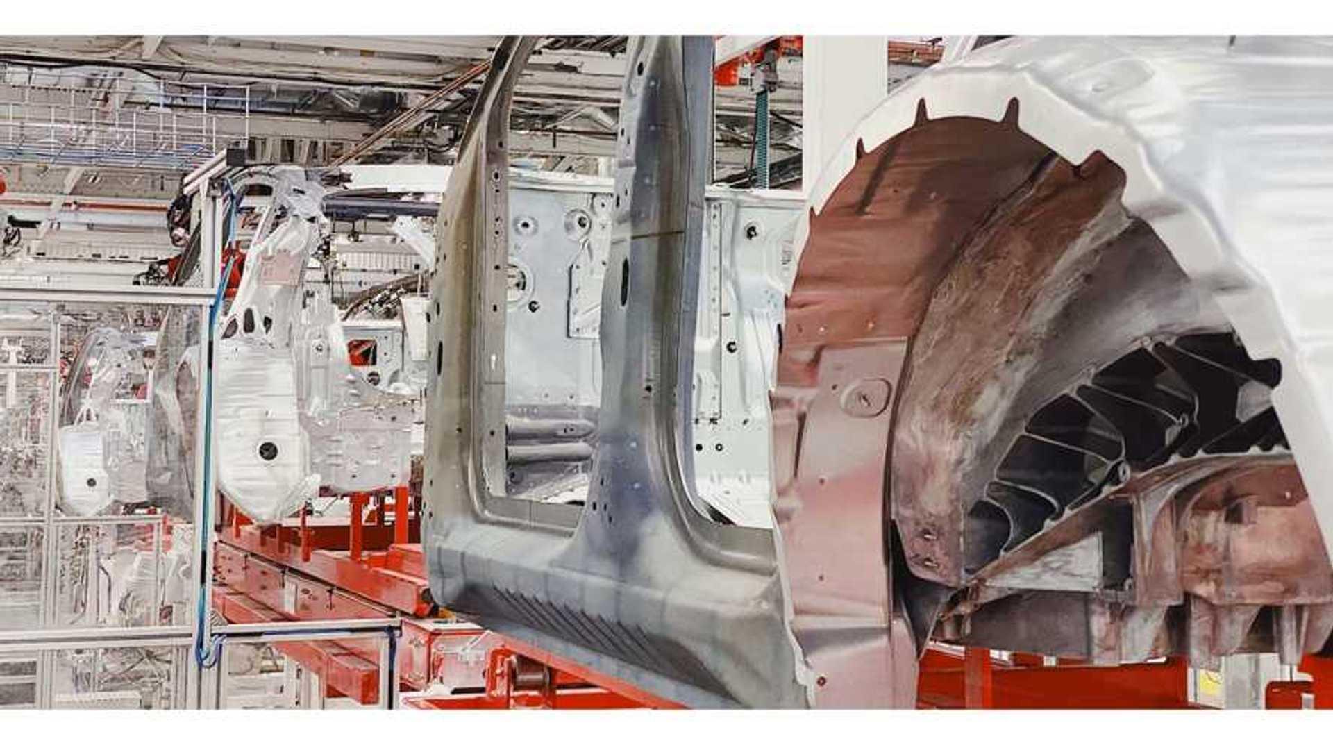 Tesla Model Y body shop in Fremont Factory