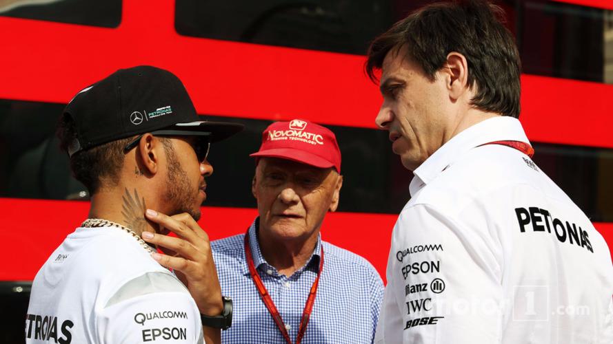 Lewis Hamilton with Niki Lauda and Toto Wolff